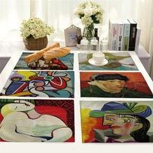 Картина маслом коврик для стола абстрактный узор кухонный обеденный