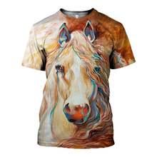 Мужские футболки sonspee с 3d принтом красивой беговой лошади