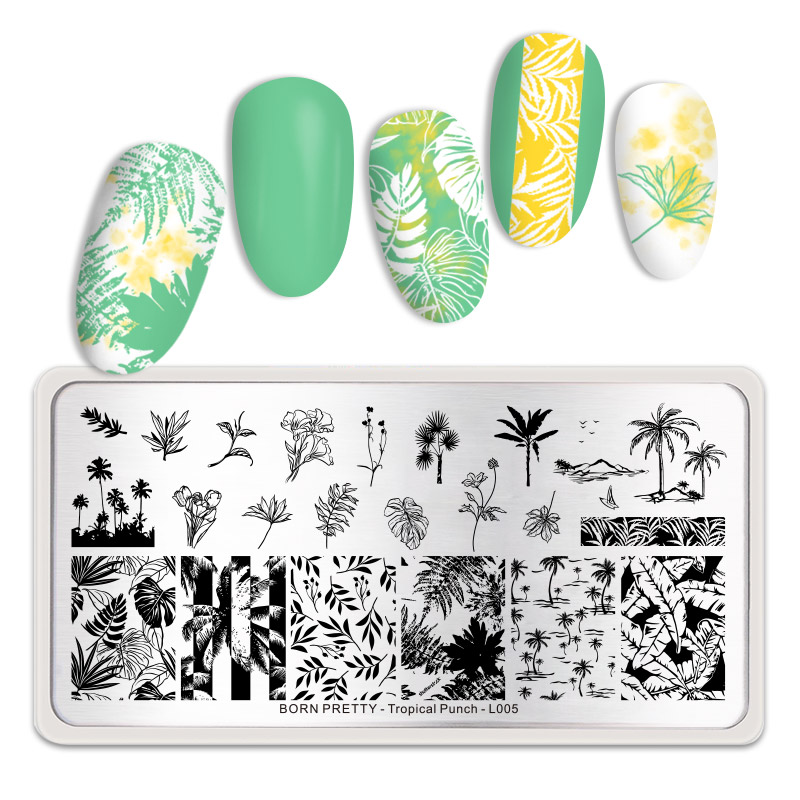 BORN PRETTY Leaves Pattern Rectangle Nail Stamping Plates Stainless Steel Tropical Punch Theme Nail Art Design Stamp Template