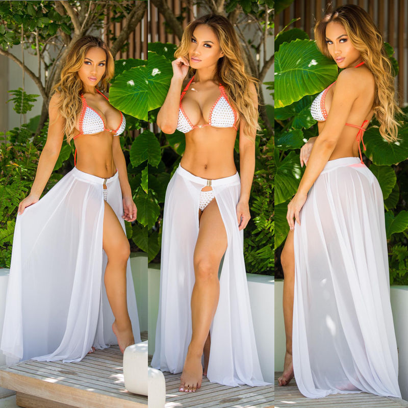 Summer Cover-Ups Women Beach Swimwear Bikini Sheer Mesh See-through Long Split Cover-Up Skirt Sarong Pareo Bathing Wear