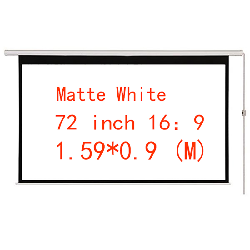 Thinyou Matt White Projector Electric Screen 72 Inch 16:9 Motorized Projection  With Remote for Home Cinema Business bar