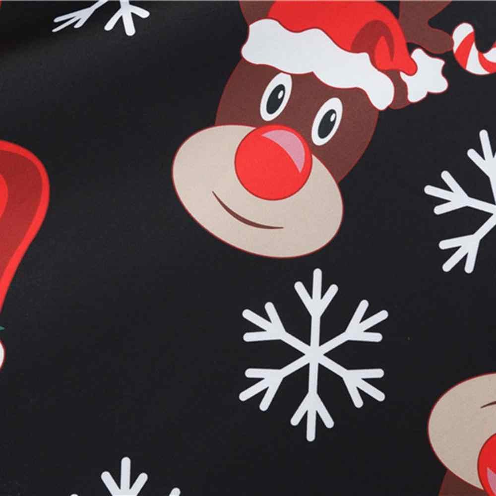 Negro gran Swing estampado Vintage vestido de Navidad mujer invierno Casual manga larga cuello en V Sexy Año nuevo vestido de fiesta de talla grande S ~ 3XL