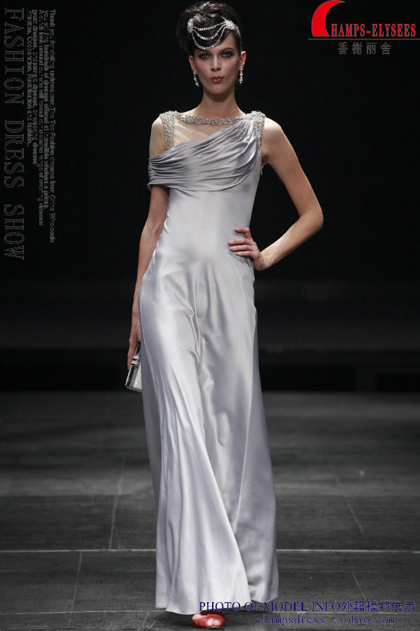 New Fashion Hot Vestido Longo Cap Sleeve Robe De Soiree Formal Beaded Silver Sexy Gown Party Evening Mother Of The Bride Dresses