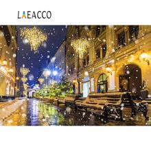 Laeacco Vinyl Backdrop Old Town Light Snowflake Street Bokeh Child Night Winter Scenic Photo Background Photocall Shoot