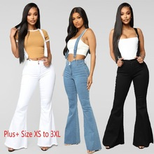 Denim Overalls Flared-Pants Slimming-Jeans Washed Vintage Sexy Fashion Women Casual Lady