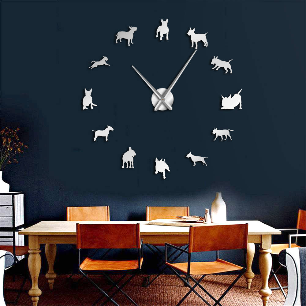 DIY Large Wall Clock Bull Terrier Dog Wall  Art Dog Breed Pug Needle Clock Watch Pet Shop Decor Gift For Bull Terrier Lovers