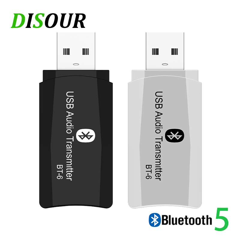 DISOUR BT-6 Wireless Audio Adapter 5.0 Bluetooth Transmitter Receiver 3 In 1 USB 3.5mm AUX Mini Dongle For Car TV PC Speaker MP3