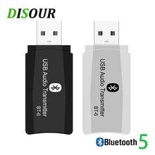 DISOUR BT 6 bezprzewodowy adapter audio 5.0 nadajnik bluetooth odbiornik 3 w 1 USB 3.5mm AUX Mini klucz do samochodu TV PC głośnik MP3