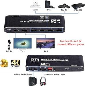 Image 2 - 2020 4K @ 60Hz HDMI Matrix 4x2 Schalter Splitter Unterstützung HDCP 2,2 IR Fernbedienung HDMI schalter 4x2 Spdif 4K HDMI 4x2 Matrix Schalter