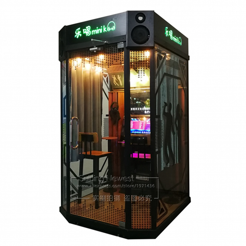 2 Players Coin Operated Jukebox Video Music House Box Practice Song Singing Room Karaoke Black KTV Booth Indoor Arcade Machine image