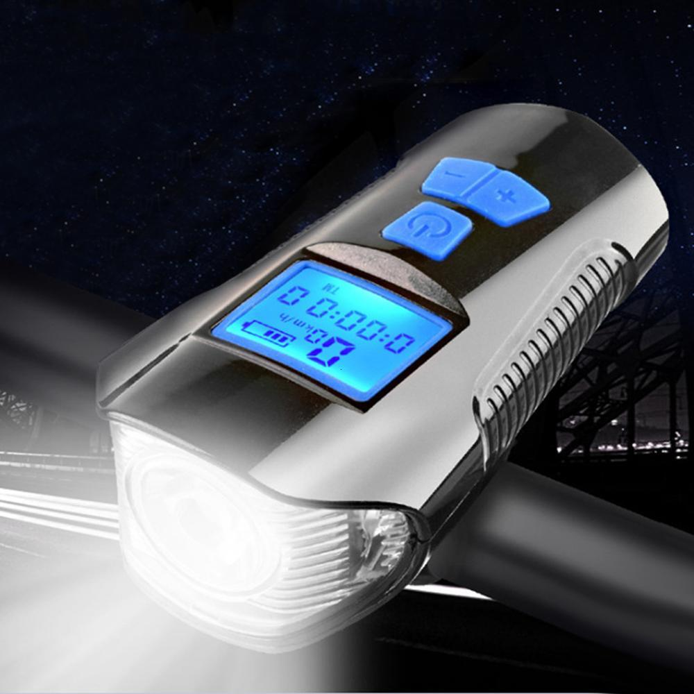 5 Mode USB Bicycle Light Lamp & Bike Computer Horn Flashlight Cycle Bike Speedometer Led Display Front Lights Cycling Headlight