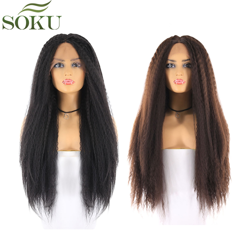 Black Brown Blonde Synthetic Lace Front Wigs For Black Women Long Kinky Straight Middle Part Lace Front Hair Wigs SOKU