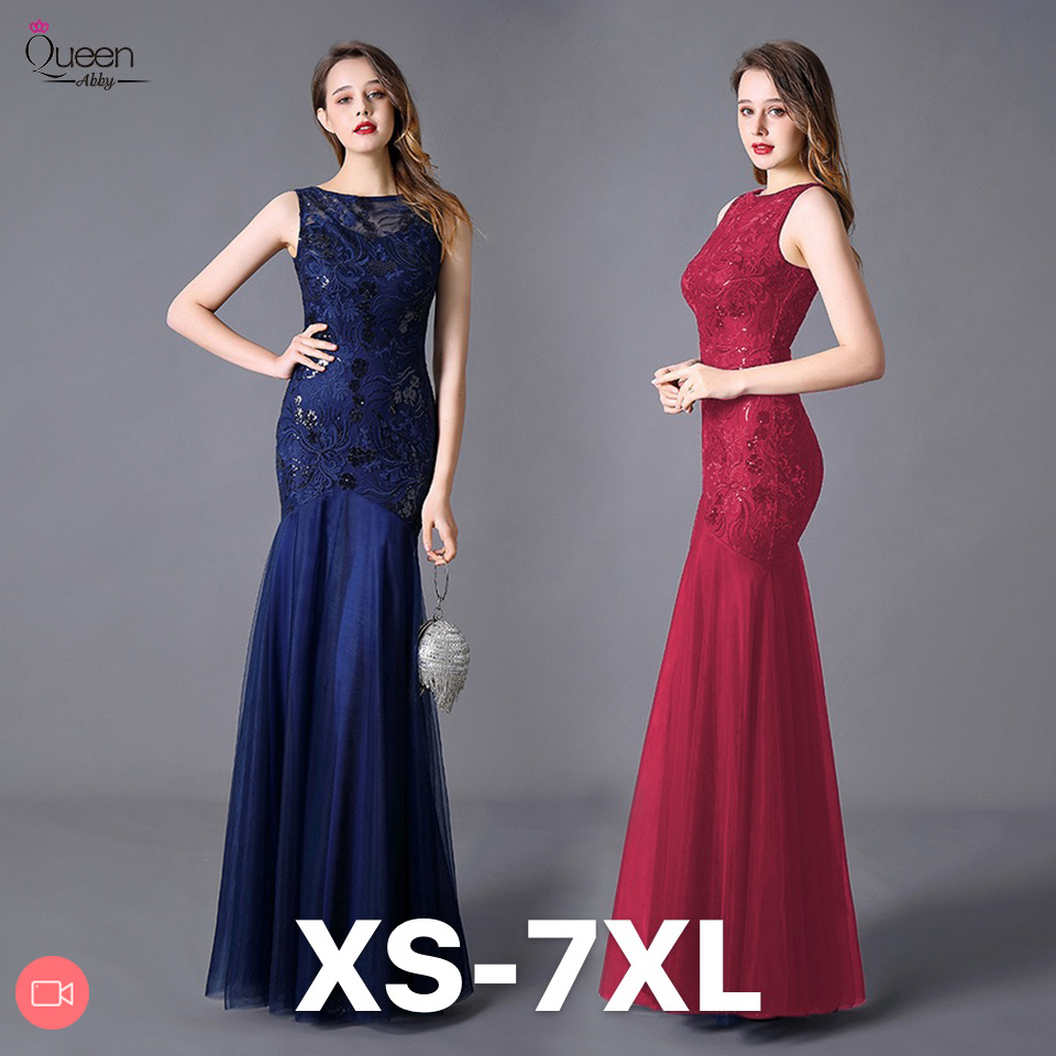 Plus Size Sequined Evening Dresses Long Queen Abby Mermaid O-Neck Sleeveless Women Lace Formal Party Gown Abendkleider 2020