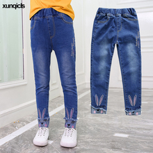 New Girls Jeans Children Denim Bunny Kids Embroidered Pants Teenager Trousers Girl Clothing Spring Autumn