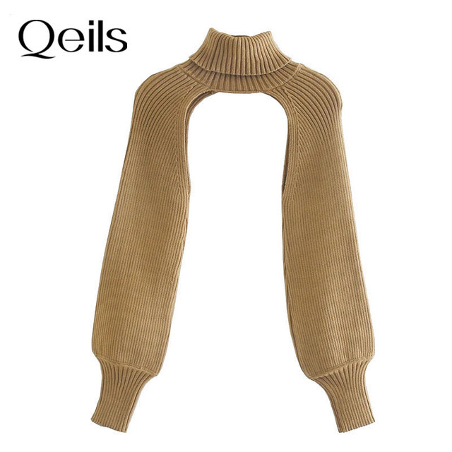 Qeils Women 2021 Fashion Arm Warmers Knitted sweater Vintage Turtleneck Long Sleeve Female Pullovers Chic Tops