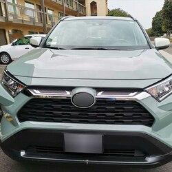 ABS Chrome przednia centrum siatki Grille pokrywa chłodnicy taśmy wykończenia dekoracji akcesoria samochodowe dla Toyota Rav4 hybrydowy XA50 2019 2020 w Chromowane wykończenia od Samochody i motocykle na