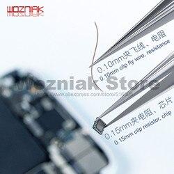 WOZNIAK niemagnetyczna wysoka precyzyjna pęseta 0.10mm 0.15mm Cusp Clip CHIP IC odcisk palca z linką do puszczania odporność na konserwację w Zestawy narzędzi ręcznych od Narzędzia na
