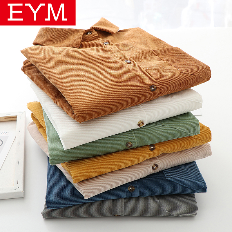 EYM Brand Solid Color Women's Corduroy Shirt 2020 Spring New Women Long Sleeve Blouse Casual Large Size Loose Blouses Lady Tops(China)