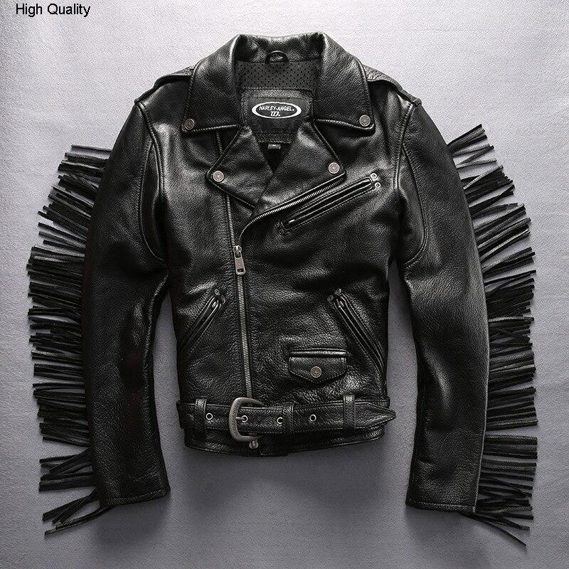 Men's Tassel Motorcycle leather Jacket with belt Rock Stylish Genuine Leather coat Men Short Slim Fit Cowhide biker jacket male