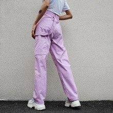 Autumn Winter Women Hip Hop purple High Waist Pants Capris Streetwear Harajuku Cargo Casual Overalls 2019