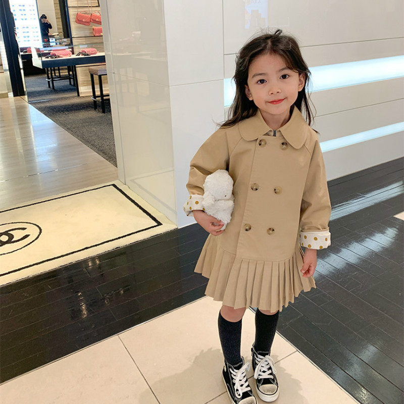 2021 Autumn New Arrival Girls Long Sleeve Pleated Dress Kids Double-breasted Dresses 1