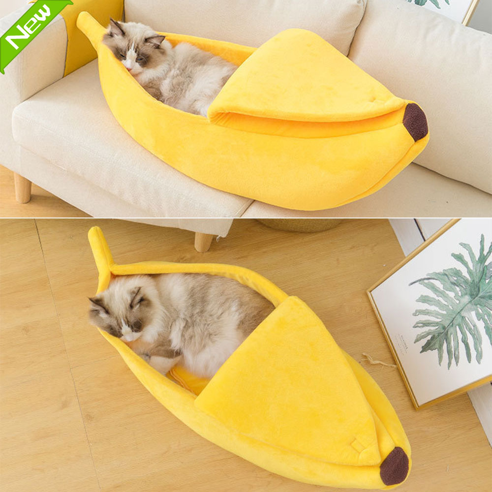 Banana Shape Pet Dog <font><b>Cat</b></font> <font><b>Bed</b></font> <font><b>House</b></font> Mat Durable Kennel Doggy Puppy Cushion Basket Warm Portable Dog <font><b>Cat</b></font> Supplies S/M/L/XL image