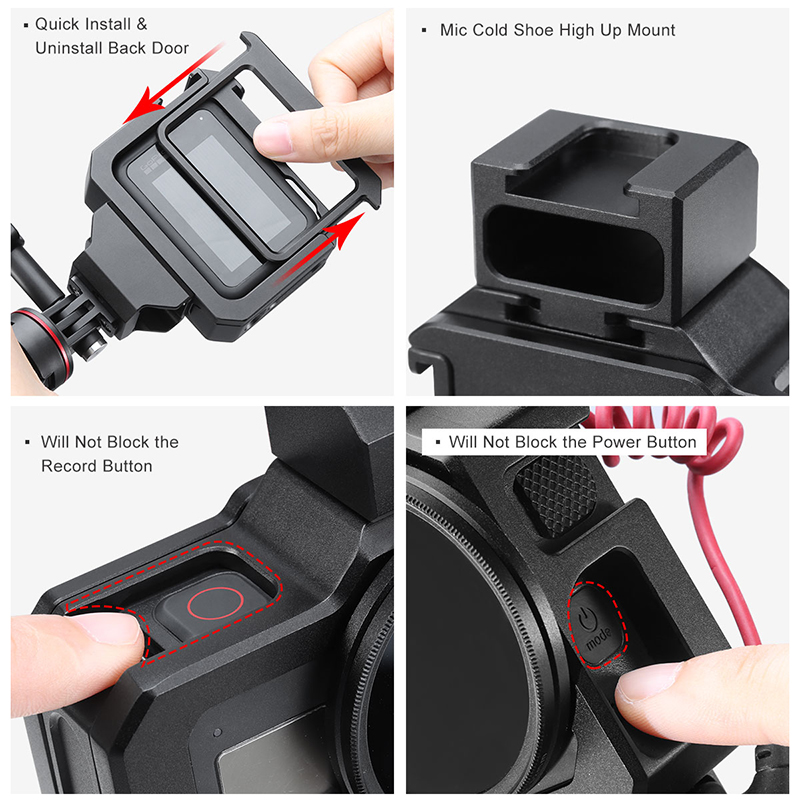 Hot DealsUlanzi Metal Vlog Case Cage for Gopro Hero Black 8 Extend Cold Shoe Mount for Microphone