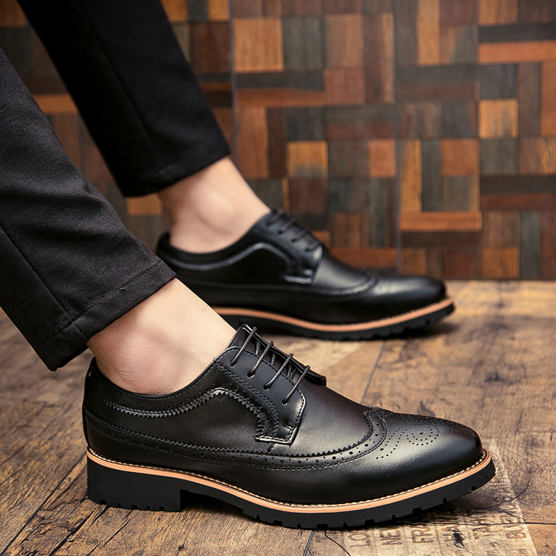 2020 Men Dress Shoes Leather Fashion Derby Shoes Classic Casual Business Wedding Footwear Lace-up British Style Male Formal Shoe
