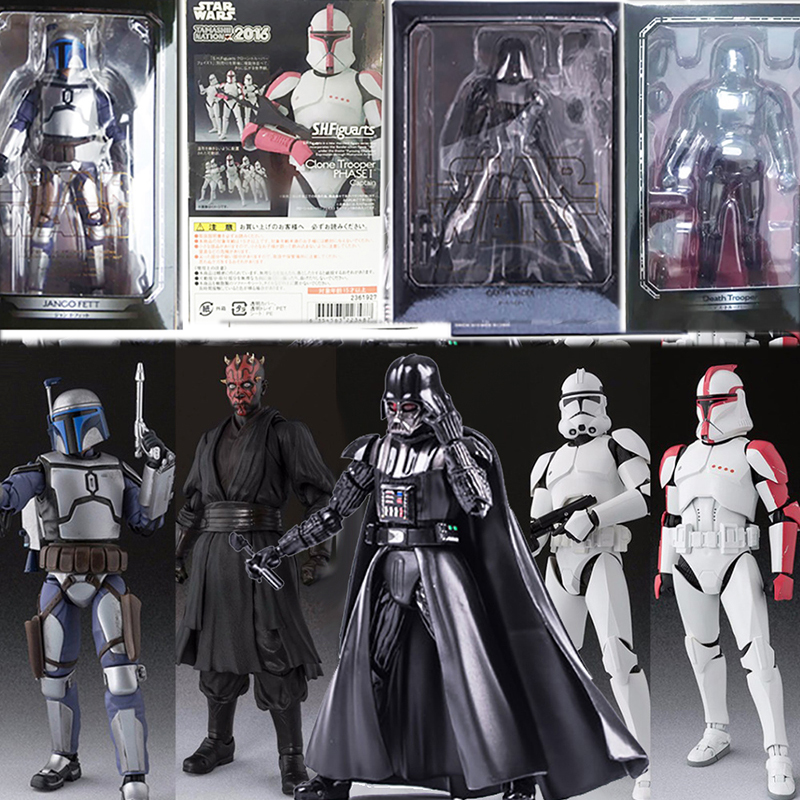 Star War Figure Darth Maul Action Figure SHF Figuarts Rogue One K-2SO Jango Fett Clone Troope Phase Darth Vader Figures Toy Gift image