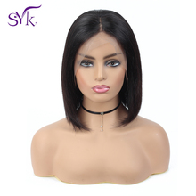 SYK HAIR Short Bob Wig Straight Lace Front Human Hair Wigs 13×4 150% Density 6