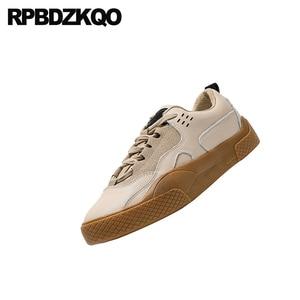Image 5 - Zapatillas de piel elevador con cordones para mujer 2019 Casual suela gruesa zapatos Chatos con plataforma para mujer Creepers diseñador zapatos China Muffin entrenadores