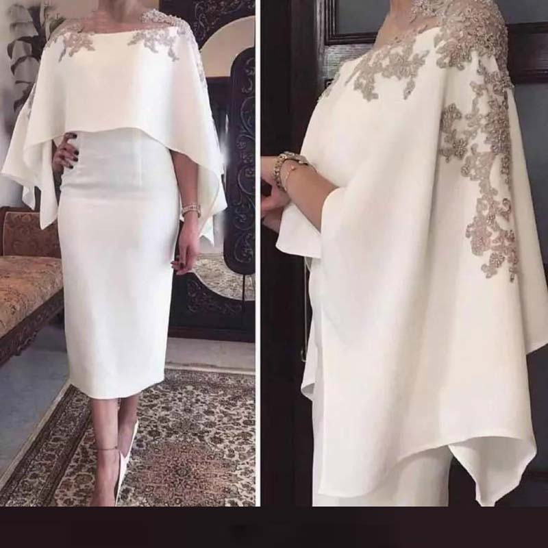 Wholesale Gorgeous Ivory Tea Length Mother of the Bride Dresses With Shawl Applique Sheath Wedding Guest Gowns On Sale