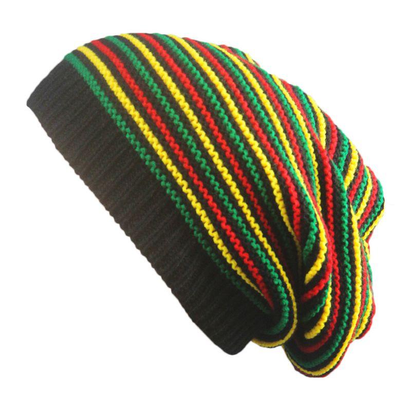 Unisex Crochet Wavy Fine Stripes Beanie Cap Rainbow Jamaica Flag Baggy Skull Hat F3MD