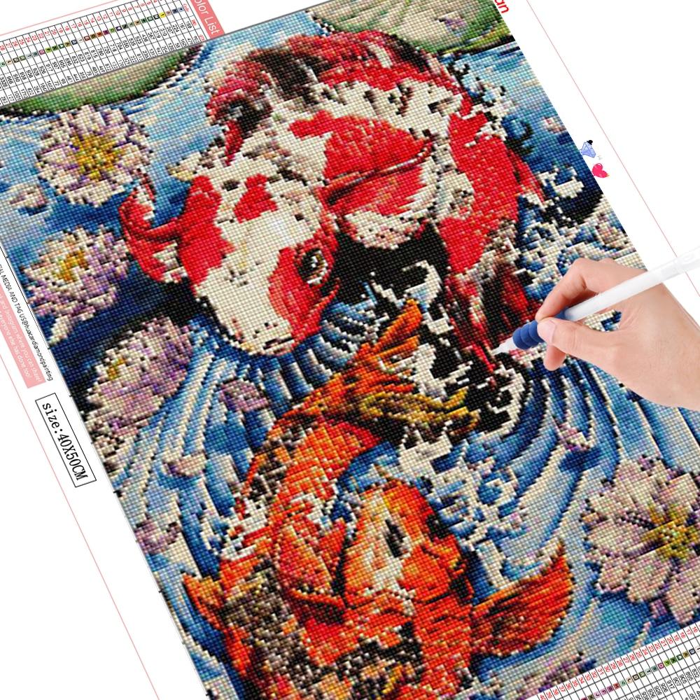 HUACAN DIY Diamant Stickerei 5D Fisch Volle Quadrat Mosaik Tier Bild Handwerk Malerei Home Dekoration