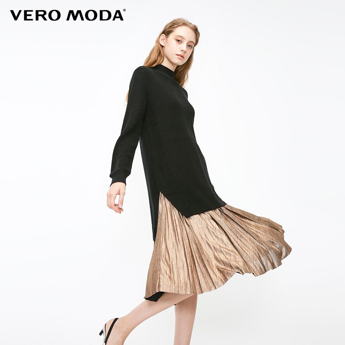 Vero moda 2019 recém chegados malha superior metal plissado hemline vestido de malha de duas peças | 319146524