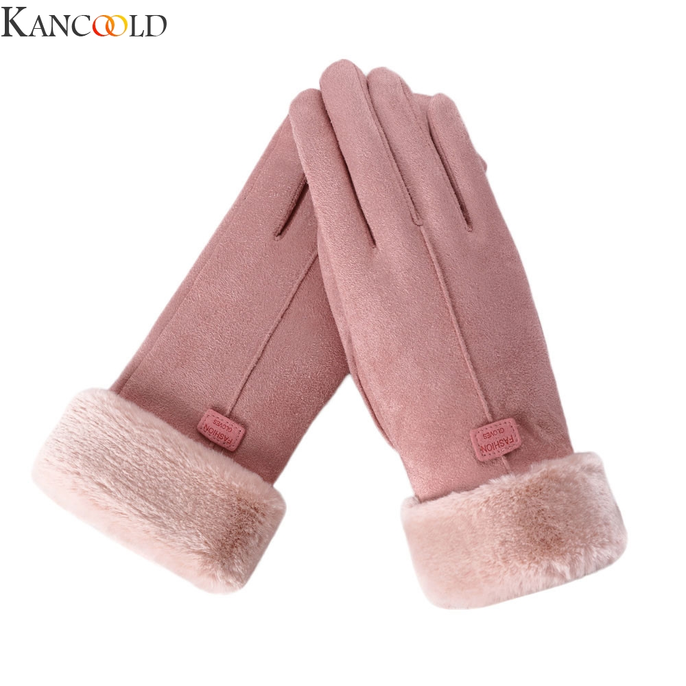 KANCOOLD New Arrival Winter Gloves Women Touch Screen Waterproof Outdoor Leather Thicken Warm Gloves Female Elastic Mittens