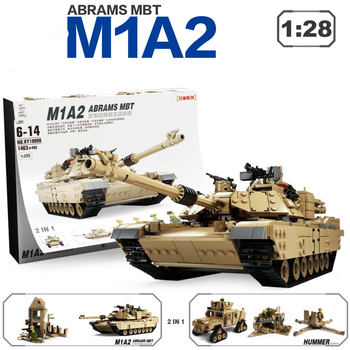 1463pcs 2in1 ABRAMS Main battle Tank Building Blocks 1:28 Model Bricks WW2 Military Series M1A1 Tank Toys For Chlidren