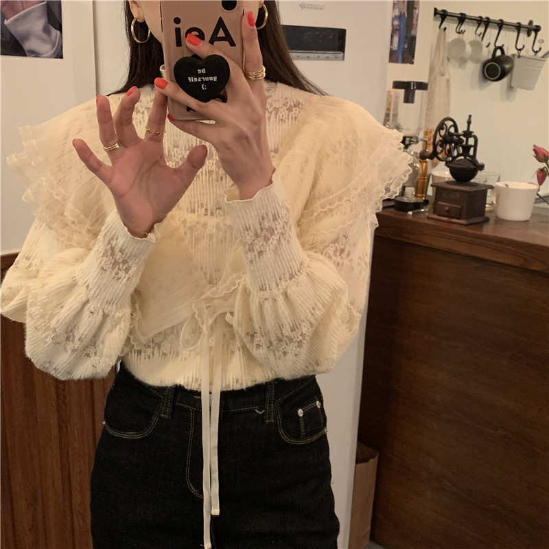 H65806b28d00f4facbfcce3837a1abab53 - Spring / Autumn Stand Collar Long Sleeves Ruffles Lace-Up Blouse