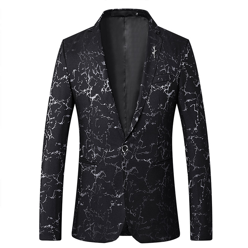 2019 New Luxury Print Classic Men'S Casual Blazer Autumn Spring Fashion Brand Loose Long Suit