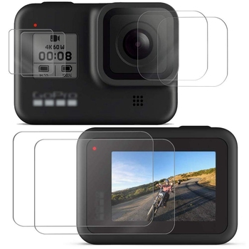 Protectores de pantalla de cámara deportiva para Gopro Hero 8 protector de pantalla de vidrio templado para Gopro 8 accesorios de cámara protectora de lente
