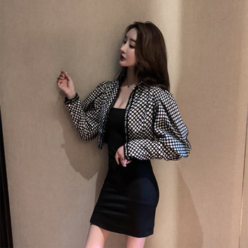 Short Loose Coat Woman 2019 Temperament Black White Color Design Feel Sleeve Short Jacket 2