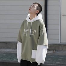 купить Autumn New Plus Velvet Hoodies Men Warm Fashion Contrast Color Casual Hooded Pullover Man Streetwear Hip Hop Loose Sweatshirt по цене 1819.77 рублей