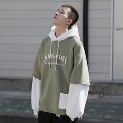 Autumn New Plus Velvet Hoodies Men Warm Fashion Contrast Color Casual Hooded Pullover Man Streetwear Hip Hop Loose Sweatshirt