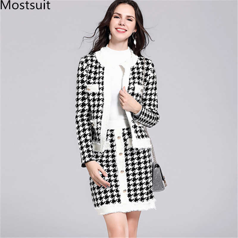 Vintage Houndstooth Knitted Women Two Piece Skirt Sets Outfits Sinegle Breasted Cardigan And Mini Skirt Suits Elegant Ladies Set