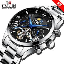 HAIQIN męskie męskie zegarki top marka luksusowy automatyczny mechaniczny luksusowy zegarek męski zegarek sportowy mężczyzna reloj hombre tourbillon tanie tanio 3Bar CN (pochodzenie) Składane bezpieczne zapięcie Moda casual Mechaniczna nakręcana wskazówka Samoczynny naciąg