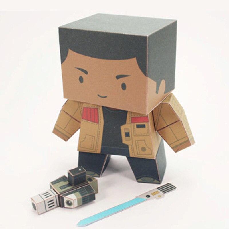 Star Wars Finn FN-2187 Folding Cutting Mini Cute 3D Paper Model Papercraft Movie Figure DIY Cubee Kids Adult Craft Toys FC-009