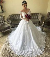 Vestido De Novia Sexy Lace Applique Wedding Gowns 2019 Court Train Button Cover Back Long Sleeve Longo Bride