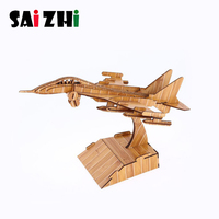 Saizhi Airplane DIY 3D Wooden Model Building Kits assembly Toys Gift for Children Fighter Wooden Assembly Construction Kits