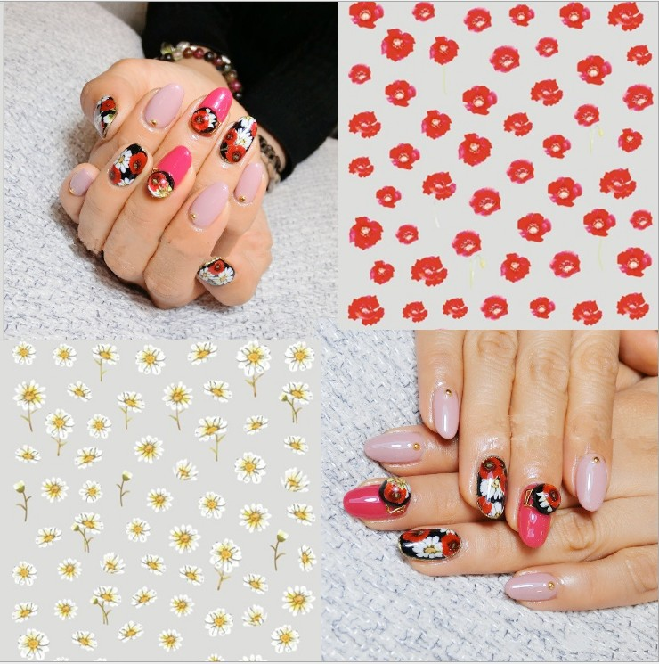 Nail Ornament Watermark Flower Stickers Small Wrinkle Chrysanthemum Corn Poppy Hot Selling Phototherapy Nail Supplies Adhesive P