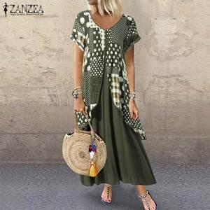 ZANZEA Sommer Kurzarm Kleid Frauen Vintage Floral Gedruckt Pacthwork Lange Sommerkleid Casual Retro Party Vestido Femme Kleider